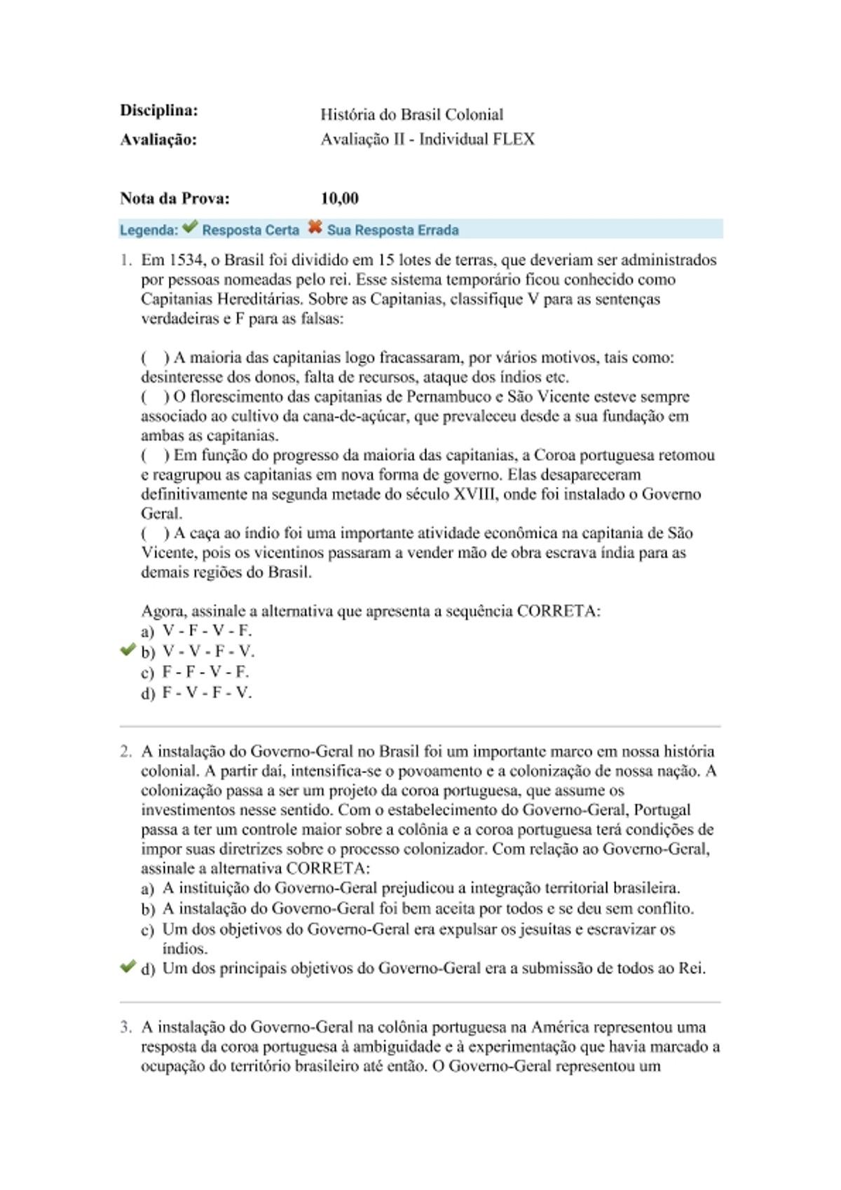 Pre-visualização do material História do Brasil Colonial avaliação 2 - página 1