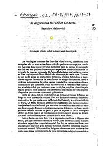 Bronislaw Malinowski_Os argonautas do Pacífico Ocidental
