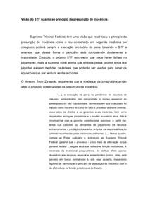 NPJ( Visão do STF quanto ao principio de presunção de inocência)
