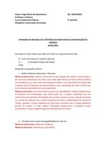 ATIVIDADE DE REFORÇO DE CONTEÚDO DA DISCIPLINA DE CONSERVAÇÃO DE ENERGIA 10
