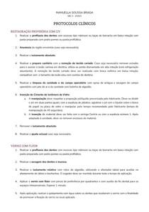 Protocolos clínicos - Selantes Invasivo e Não-Invasivo, CIV, Verniz com Flúor e Flúor Gel