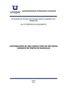 PORTFÓLIO - CONTRIBUIÇÕES DE UMA CONSULTORIA DE RECURSOS HUMANOS EM TEMPOS DE MUDANÇAS - COMPLETO