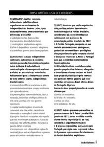 História do Brasil - Brasil Império - Lista de Exercícios (com gabarito)