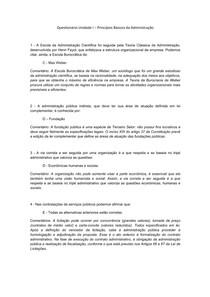 Questionário Unidade I - Princípios Básicos da Administração