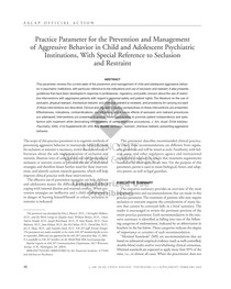 2002 AACAP Practice Parameter for the Prevention and Management of Aggressive Behavior in Child and Adolescent Psychiatric Institutions, With Special Reference to Seclusion and Restraint