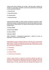 QUESTÕES OBJETIVAS DE PSICOLOGIA ORGANIZACIONAL E DO TRABALHO