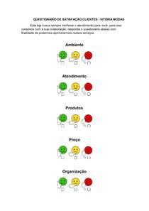 Modelo De Questionário De Satisfação Clientes Administração