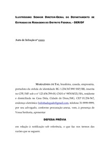 Modelo Defesa Prévia Recusa Etilômetro