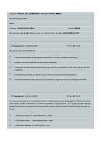 Avaliação DE PATOLOGIA BASICA AV3