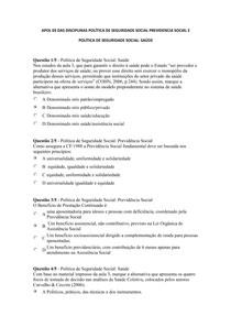 APOL 03 DAS DISCIPLINAS POLÍTICA DE SEGURIDADE SOCIAL PREVIDENCIA SOCIAL E