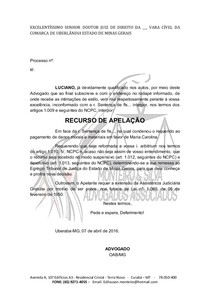 Modelo Recurso De Apelação Civil Direito Processual Civil I