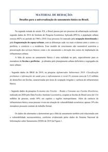 Material de redação - Saneamento (Universalização)