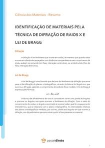 Identificação de materiais pela técnica de difração de raios X e Lei de Bragg - Resumo