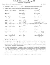 Lista 6 - Aplicações de derivadas