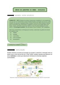 Nicho Ecológico - ENEM Questões