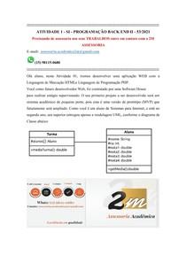 ATIVIDADE 1 - SI - PROGRAMAÇÃO BACK END II