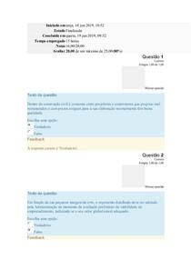 Avaliação Módulo I - FISCALIZAÇÃO DE OBRAS PÚBLICAS