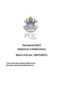 PUC RJ 2012 - GABARITO - Ciências da Natureza (questões objetivas)