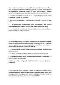 QUESTÕES OBJETIVAS DE LEGISLAÇÃO TRABALHISTA E PREVIDENCIÁRIA