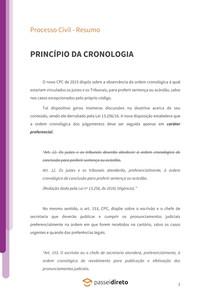 Princípio da cronologia - Resumo
