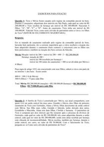 Direito das Sucessões - Exercícios de Fixação