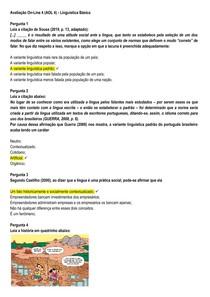 AOL 5 - Linguística Básica - UNINASSAU - 2020.1