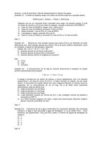 Lista de exercicios de Estequiometria e estudo de gases