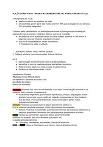 NOÇÕES BÁSICAS DE TRAUMA- ATENDIMENTO INICIAL AO POLITRAUMATIZADO - Documentos Google