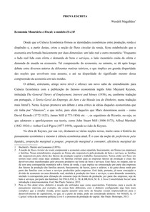 Economia Monetária e Fiscal - o modelo IS-LM - Prova Escrita - Concurso Professor Substituto