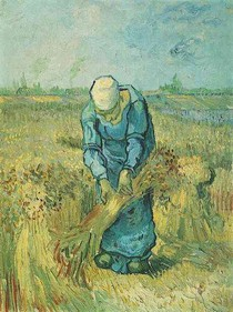 Vincent Willem van Gogh-camponesa-Binding-Polias-After-Millet