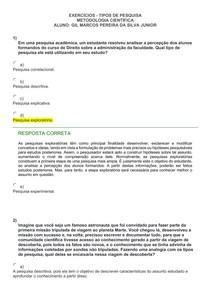 EXERCÍCIOS - TIPOS DE PESQUISA