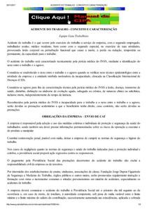 ACIDENTE DO TRABALHO   CONCEITO E CARACTERIZAÇÃO