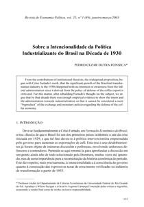 Sobre a intencionalidade da política industrializante do Brasil na década de 1930