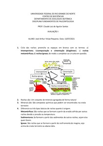FUNDAMENTOS DA PALEONTOLOGIA - AVALIAÇÃO 1