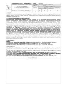 UNICAP - EMENTA - ENG1525 SEGUR E HIGIENE DO TRABALHO