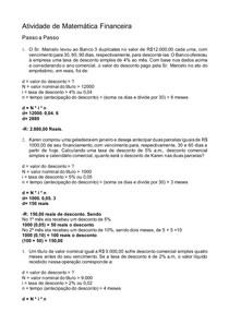Atividade de Matemática Financeira