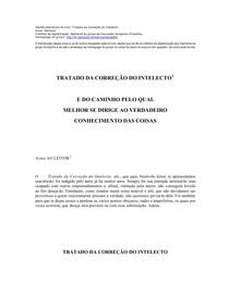 Tratado da correção do intelecto - Spinoza