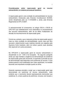 Considerações sobre repercussão geral no recurso  extraordinário no sistema processual brasileiro1
