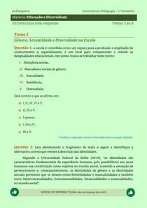 Educação e Diversidade - 20 Exercícios resolvidos dos Temas 5 ao 8