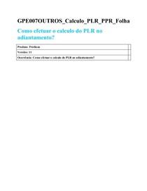 GPE007OUTROS Calculo PLR PPR Folha