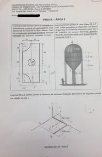 P2 Mecânica -  Profs. Vanessa Dutra e Ângela Graeff -  2018/2 UFRGS