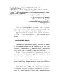 O MEIO AMBIENTE NA CONSTITUIÇÃO FEDERAL DE 1988