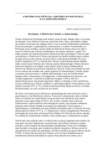 A História das Ciências e a Epistemologia