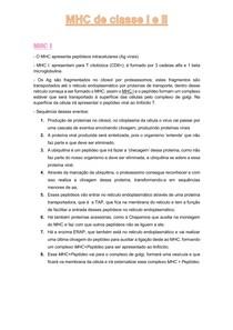Imunologia - MHC de classe I e II