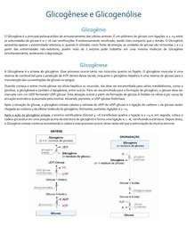 Resumo Bioquímica Glicogênese e Glicogenólise