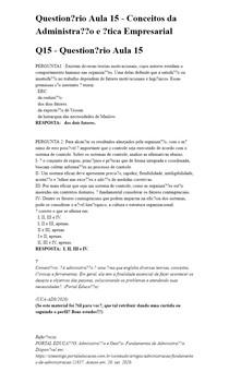 Questionário Aula 15 - Conceitos da Administração e Ética Empresarial