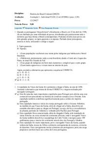 História do Brasil Colonial prova 1