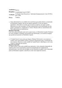 AVALIAÇÃO FINAL DISCURSIVA - CONTABILIDADE GERAL UNIASSELVI
