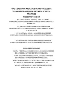 TIPO E EXEMPLOS APLICÁVEIS DE PROTOCOLOS DE TREINAMENTO HIIT