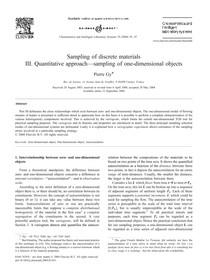 Sampling of discrete materials III quantitative approach sampling of one dimensional objects